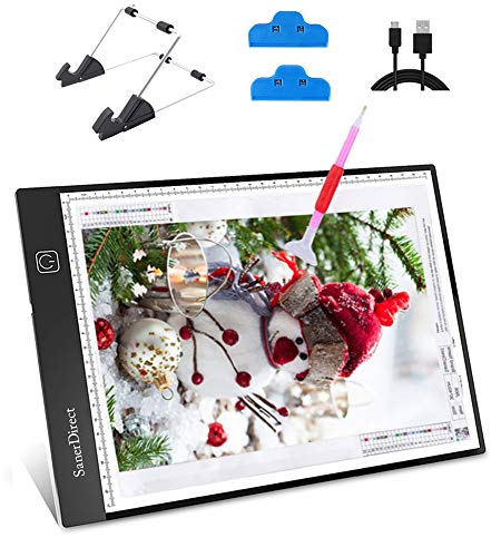 SanerDirect Diamond Painting A4 LED Light Pad - Tracing Light Box for Drawing, Adjustable Brightness w/Ruler, USB Powered Projector Kit with Detachable Stand and Clips from SanerDirect