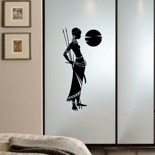 Wall Vinyl Decal Home Decor Art Sticker Beautiful African Girl Woman Warrior with a Spear Masai Bedroom Living Room Removable Stylish Mural Unique Design 2401