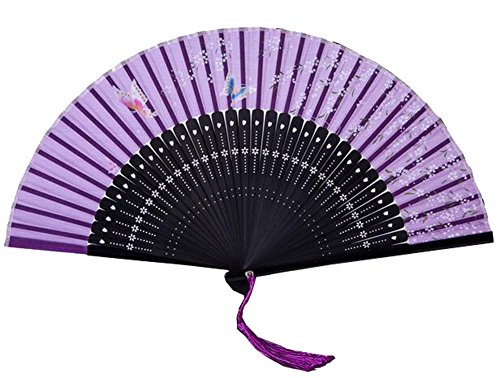 Chinese Style Process Fan Retro Folding Fan Dance Fan Home Decoration Gift 6 Inch (Purple)