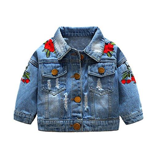 Teenfir Baby Girls Denim Jackets Coats Flower Embroidery Children Outwear Blue 2T -