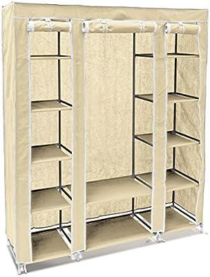 Relaxdays – Armario/ropero plegable hecho de tubos de acero y recubrimiento de tela con medidas 175,5 x 148 x 43 cm organizador para ropa y toallas 12 ...