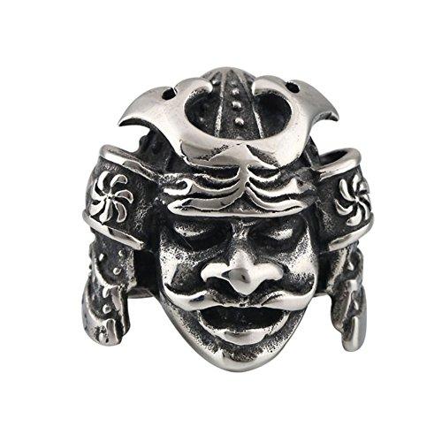Men Jewelry Rings Japanese Bushido Samurai Helmet Warrior Punk Ring (Japanese Ring)
