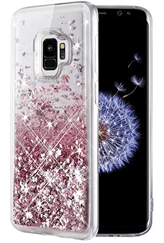 Caka Galaxy S9 Case, Galaxy S9 Glitter Case [Liquid Series] Luxury Fashion Bling Flowing Liquid Floating Sparkle Glitter TPU Bumper Case for Samsung Galaxy S9 - (Rose Gold)