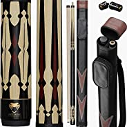 Python - 2- Pieces Pool Cue Stick 100% Canadian Maple Wood. Professional Billiard Pool Cue Stick with Hard Cas