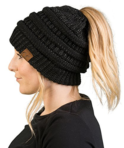 - BT-6020a-9006 Messy Bun Womens Winter Knit Hat Beanie Tail - Black (Metallic)
