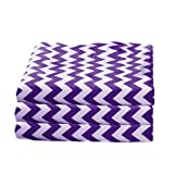 bkb Daycare 6 Piece Chevron Flat Crib and Toddler Sheets, Plum