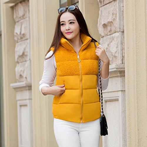Solido Gilet Colore Giallo Del Yiiquan Collare Caldo Inverno Delle Outwear Basamento Trapuntato Di Gilet Donne Svago q6nxwBC1aF