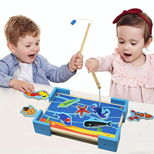 Baby Magnetic Fishing Game Board Wooden Jigsaw Puzzle Educational Toys - 7