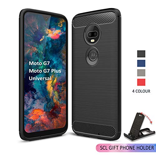 (SCL [Black] Case for Moto G7 Case/Moto G7 Plus Case/Moto G7 Play Case/Moto G7 Power Case, Carbon Fiber Protection Cover [Anti Scratch][Anti Collision] Compatible with The Moto G7 Series)