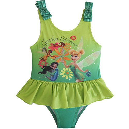Disney Little Girls Tinker Bell Print Ruffle One Pc Swimsuit 2 Green (Tinkerbell Bathing Suit)