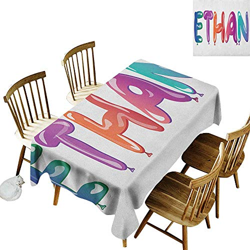 kangkaishi Easy to Care for Leakproof and Durable Long tablecloths Outdoor Picnic Colorful Letters in The Shape of Balloons Happy Birthday Celebration Themed Font W14 x L108 Inch Multicolor