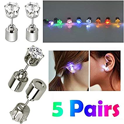 0769b3b6d5fe8 AYAMAYA 5 Pairs Changing Color Christmas Light Up LED Earrings Studs  Flashing Blinking Earrings Dance Party Accessories Lights Decoration for  Men ...