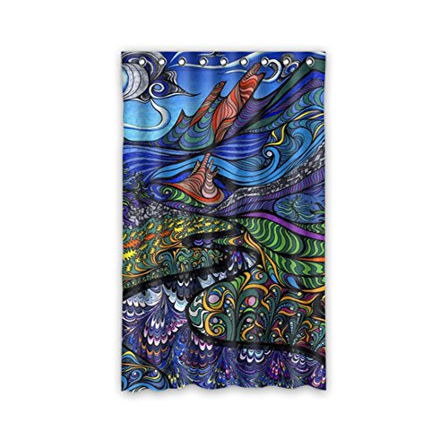 JIDUIDODO Single& Original& Personal Tailor Custom Decoration Gifts Psychedelic Window Curtain for Living Room, Bedroom, And Kids Rooms Polyester Kitchen Curtains 52