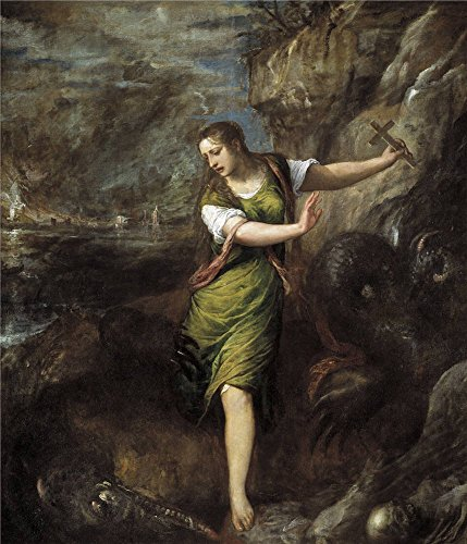 The Perfect Effect Canvas Of Oil Painting 'Titian [Vecellio Di Gregorio Tiziano] Saint Margaret Ca. 1556 ' ,size: 24 X 28 Inch / 61 X 71 Cm ,this High Definition Art Decorative Prints On Canvas Is Fit For Hallway Gallery Art And Home Gallery Art And Gifts - State Fair Bingo Shutter Cards