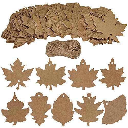Supla 180 PCS Favor Tags Thank You Gift Tags Place Cards Name Tags Blank Cards Hang Tags Kraft Paper Tags Maple Fall Leaves Shape - 3.2