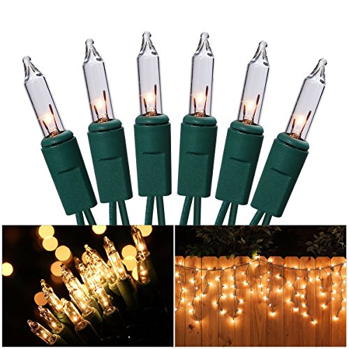 Led Icicle Lights Green Wire Warm White in US - 5