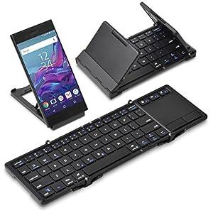 [タッチパッド搭載] 折りたたみ式 Bluetoothキーボード Bookey touch(ブラック)
