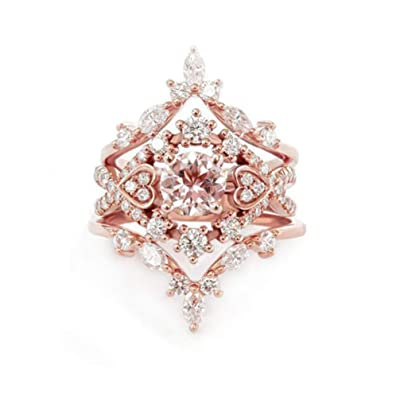 Myhouse 3 Pcs/Set Rose Gold Color Crown Shape Rhinestone Ring Bridal Wedding Engagement Ring, 6: Toys & Games