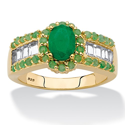 14K Yellow Gold over Sterling Silver Oval Cut Genuine Emerald and White Topaz Halo Ring Size 7 ()
