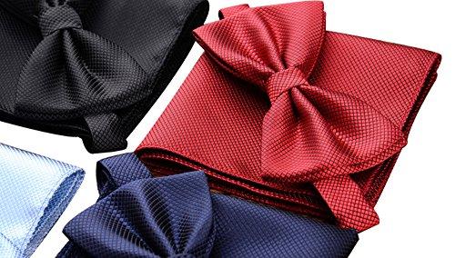 AINOW Mens Fashion Pre-tied Bowtie Pocket Square Hankerchief Set