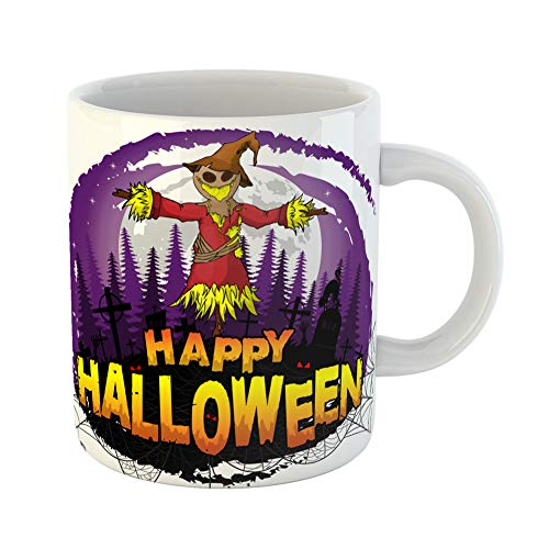 Emvency Coffee Tea Mug Gift 11 Ounces Funny Ceramic Abstract Happy Halloween Scarecrow Adult Amusing Gifts For Family Friends Coworkers Boss -