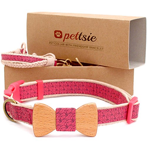 Pettsie Dog Collar with Bow Tie Pet and Friendship Bracelet, Durable Hemp for Extra Safety, 3 Easy Adjustable Sizes, Comfortable and Soft, Strong D-Ring for Easy Leash (Hemp Martingale Dog Collars)