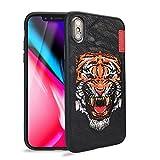 Phone Case for iPhone X - Skinarma BK123 2017 Embroidered iPhone Case for Apple iPhone X 5.8 Inch TPU+PC Material Drop Protection (Orange)