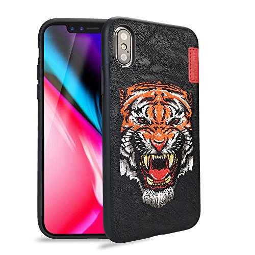 Case Embroidered Phone (Phone Case for iPhone X - Skinarma BK123 2017 Embroidered iPhone Case for Apple iPhone X 5.8 Inch TPU+PC Material Drop Protection (Orange))