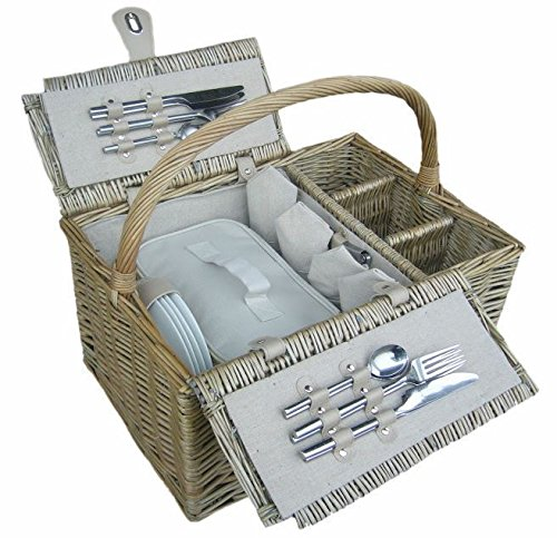 4 Person Antique Wash Fitted Picnic Basket by Thyme and Season