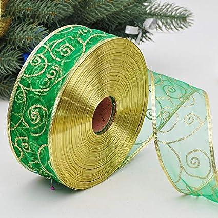 MoGist Cinta de Organza Brillante hei/ßpr/ägen Navidad Banda Banda Decorativa Regalo Banda DIY artesan/ía Cinta para decoraci/ón navide/ña Azul