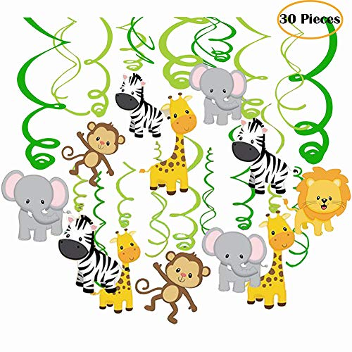 Packingmaster 30Ct Jungle Animals Hanging Swirl Decorations for Forest Theme Birthday Baby Shower Festival Party (Blue Zebra Party Supplies)