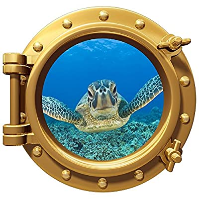 """12"""" Port Scape Instant Sea Window View TURTLE #3 BRONZE Porthole Wall Decal Sticker Graphic Home Kids Game Room Art Decor NEW"""