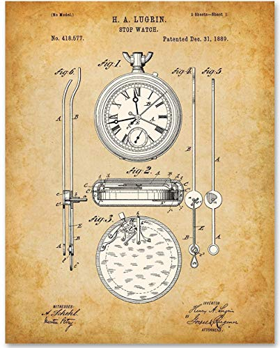 Stopwatch Art - 11x14 Unframed Patent Print - Great Gift for ()