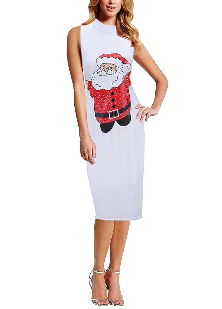 Wicky LS Women's Christmas Printed Series Sleeveless Dress