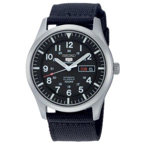 Seiko SNZG15K1 - Reloj analógico de caballero automático con correa textil negra...