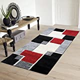 Renzo Collection Easy Clean Stain and Fade Resistant Luxury Multi Color Area Runner Rug for Living Room Bedroom Kitchen, Modern Geometric Space Design with Jute Backing (Size 2' x 5' Feet) For Sale