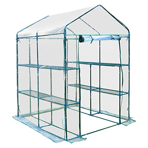 Outsunny 5′ x 5′ x 6′ Portable Walk In Garden Steeple Greenhouse