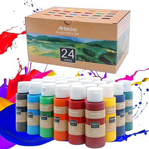 Artecho Acrylic Paint Acrylic Paint Set for Art, 24 Colors 2 Ounce/59ml Basic Acrylic Paint Supplies for Wood, Fabric, Crafts, Canvas, Leather&Stone