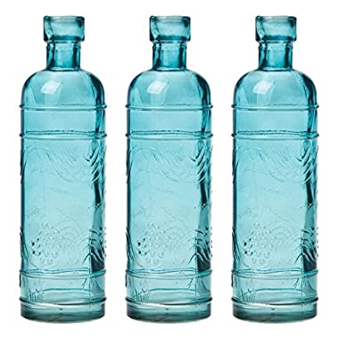 Luna Bazaar Turquoise Blue Mabel Round Glass Bottle Set of 3