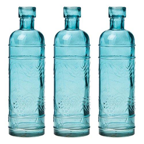 Luna Bazaar Small Vintage Glass Bottle Set (6.5-Inch, Mabel Round Design, Turquoise Blue, Set of 3) - Flower Bud Vase Set - for Home Decor and Wedding Centerpieces