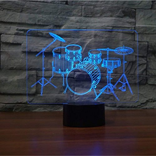 HPBN8 3D Drum Kit Optical Illusion Night Light 7 Color Change USB Touch Button LED Desk Table Light Lamp