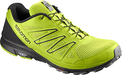 Salomon Men's Sense Marin Trail Runner, Lime Green/Black/Quarry, 10 M US