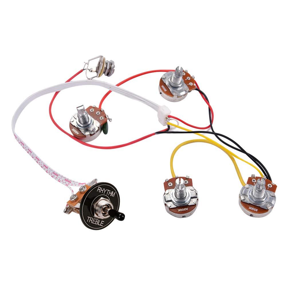 SUPVOX Accesorios del arnés de cableado para guitarra Kit de arnés de cableado para guitarra eléctrica LP Interruptor de palanca de 3 vías Conector de 2 ...