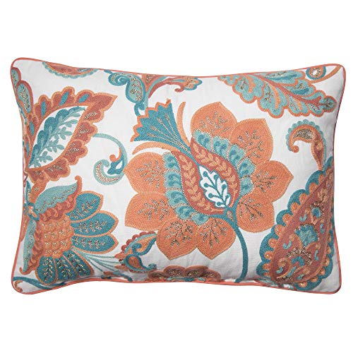 Better Homes and Gardens Paisley Floral Accent Pillow, Coral, 14