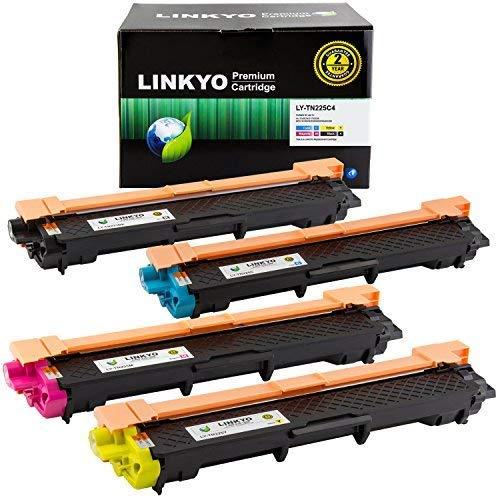 LINKYO Compatible Toner Cartridge Replacement for Brother TN221 TN225 (TN221BK, TN225C, TN225M, TN225Y, 4-Pack)