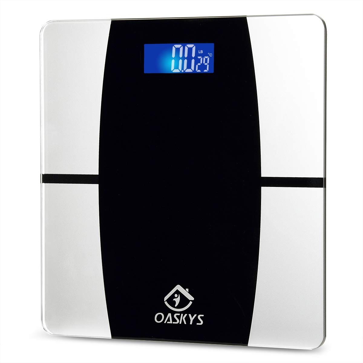 Digital Body Weight Bathroom Scale with Step-On Technology,Temperature Display,6mm Glass and max Weight 400 Pounds(Black-silveryH)