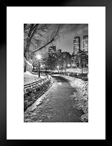 Poster Foundry New York City Central Park Wintery Path B&W Photo Art Print Matted Framed Wall Art 20x26 inch