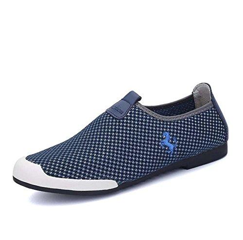 Bomba Ponerse Mocasín Hilado de red Malla Sandalias Casual Zapatos Hombres Cómodo Hueco Antideslizante Pedal Zapatos Zapatilla Zapatillas de deporte Conducción Zapatos Zapatos perezosos Tamaño de la U deep blue
