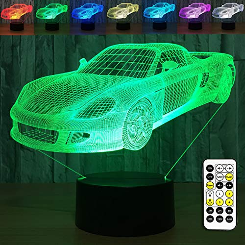 - YeeSeeJee Car Night Light 3D Night Light with Remote Timer Adjustable 7 Colors Help Kids Fell Safe at Night Gift for Boys Toy Gift Idea for Kids, Clear
