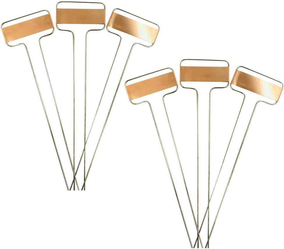 Pack of 25pcs Metal Plant Labels Garden Markers Reusable Nursery Stakes Tags Name Plate for Greenhouse Flower, Herbs, Vegetables, Seedlings, Shrubs (S(6.1x2.56x0.08inch), Copper)